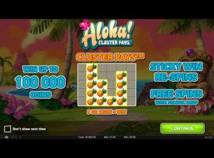 Aloha! Cluster Pays slotmaskinen SS-02