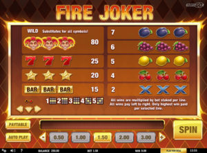 Fire Joker slotymaskinen SS-03